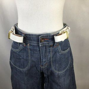 White Leather~Buckle Free~Double~Adjustable~Heavy~